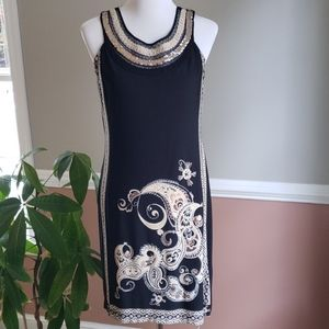 Sz 10 Sandra Darren Black & Paisley Dress
